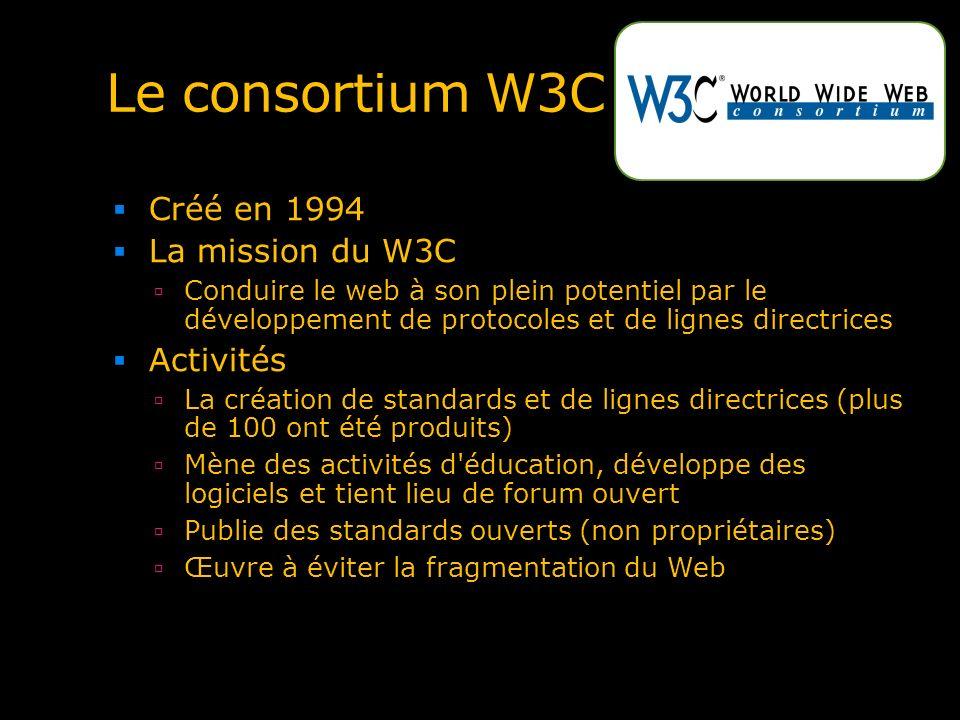 Le consortium W3C Créé en 1994 La mission du W3C Activités