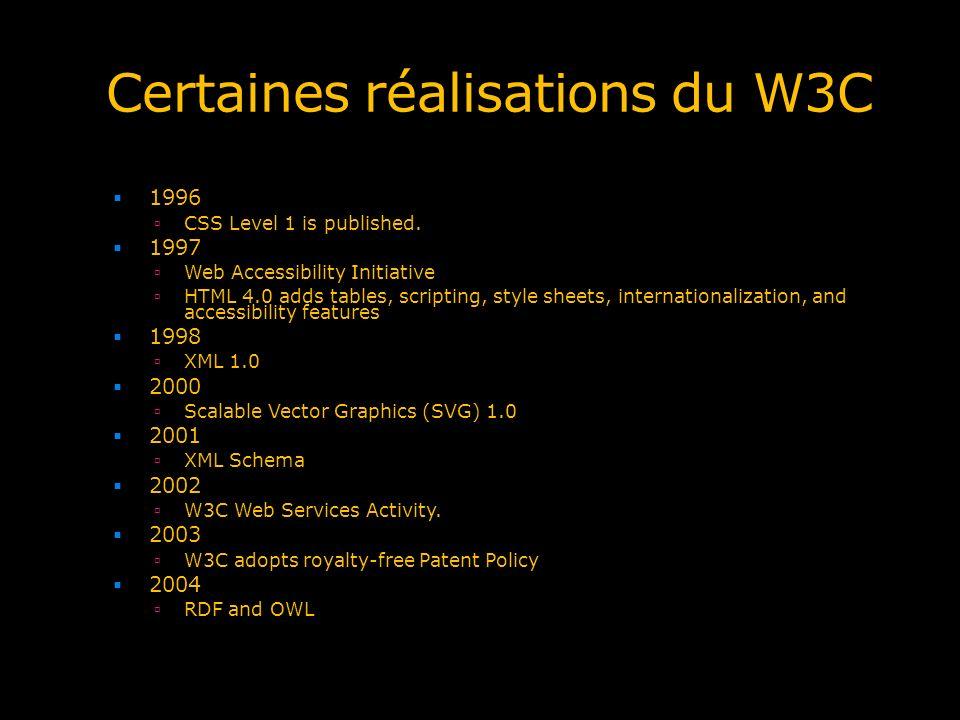 Certaines réalisations du W3C