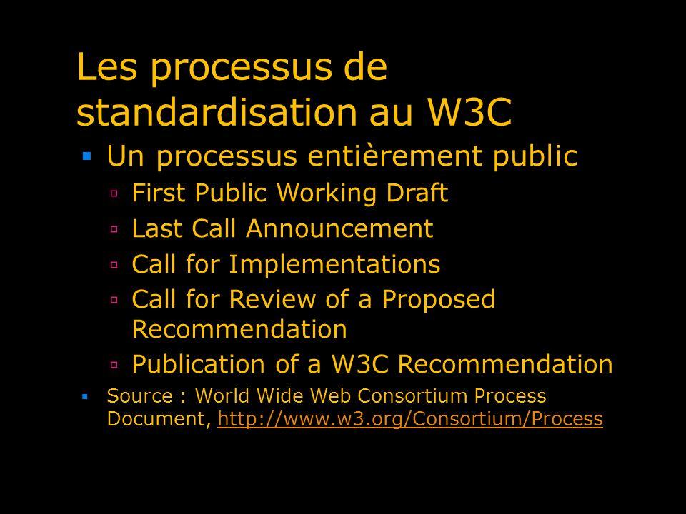 Les processus de standardisation au W3C