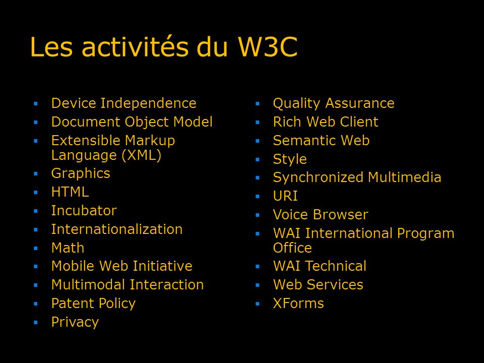 Les activités du W3C Device Independence Document Object Model