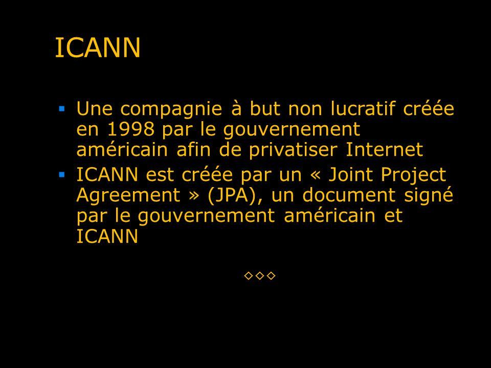 ICANN Une compagnie à but non lucratif créée en 1998 par le gouvernement américain afin de privatiser Internet.