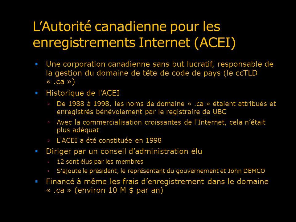 L'Autorité canadienne pour les enregistrements Internet (ACEI)