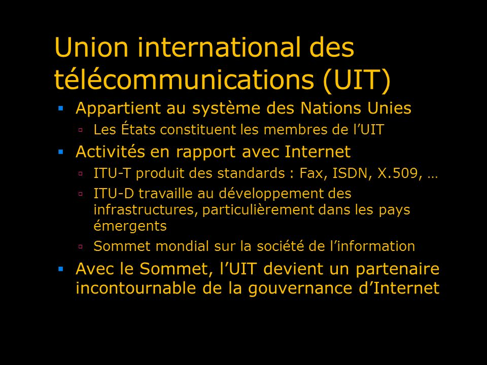 Union international des télécommunications (UIT)