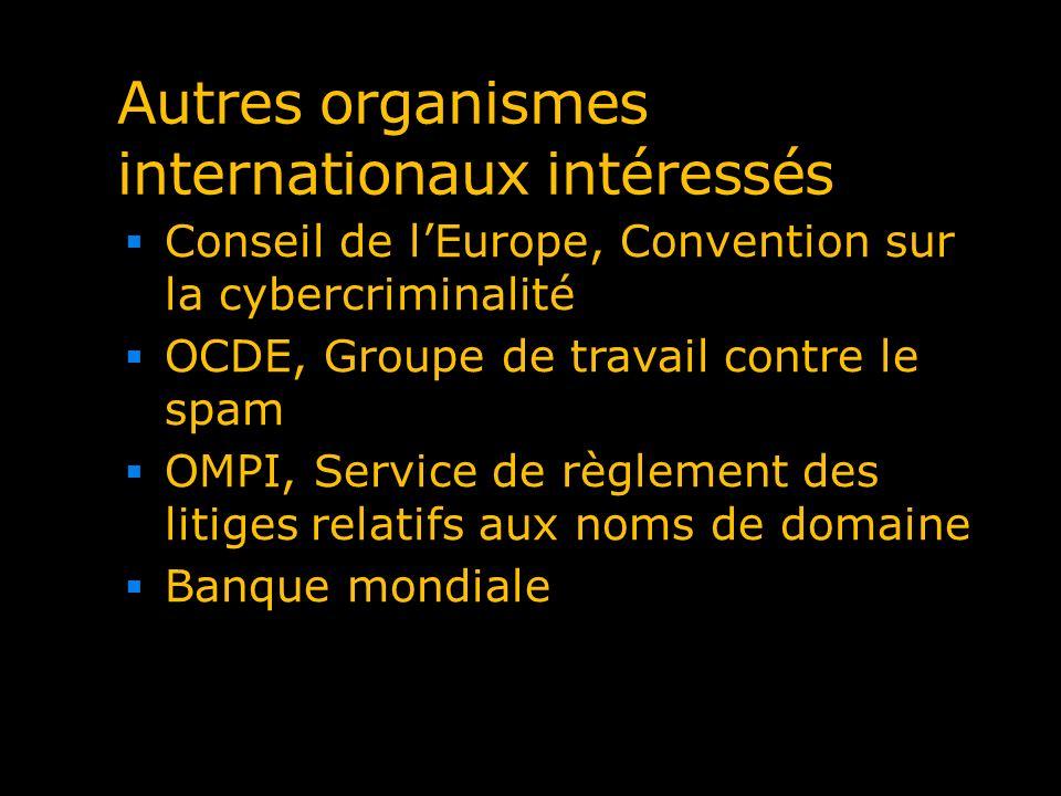 Autres organismes internationaux intéressés