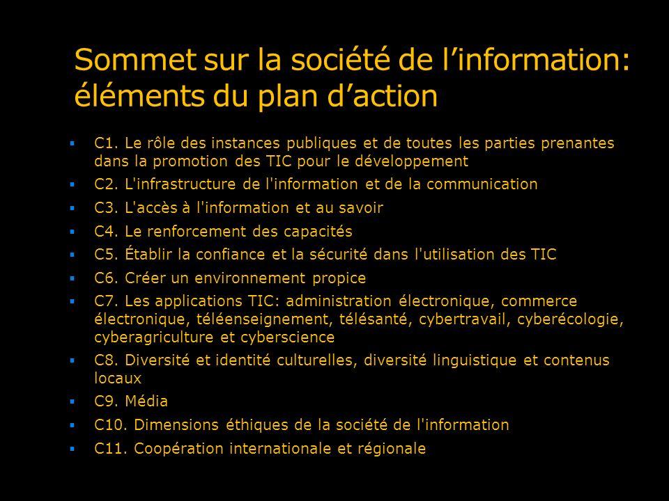 Sommet sur la société de l'information: éléments du plan d'action