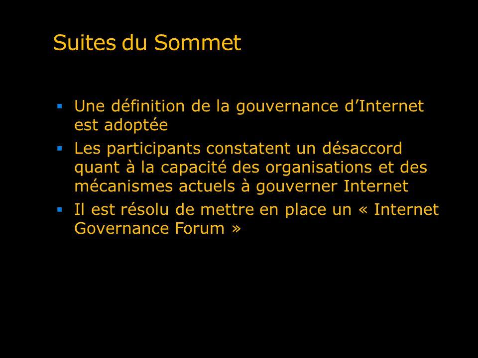 Suites du Sommet Une définition de la gouvernance d'Internet est adoptée.