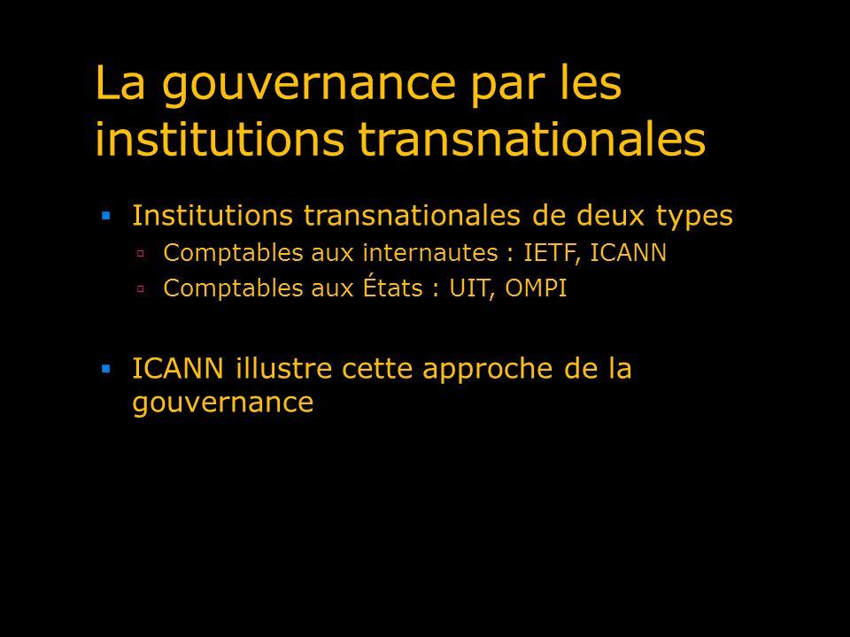 La gouvernance par les institutions transnationales