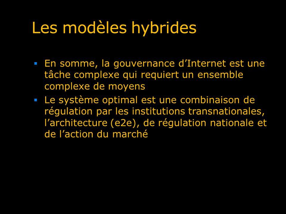 Les modèles hybrides En somme, la gouvernance d'Internet est une tâche complexe qui requiert un ensemble complexe de moyens.
