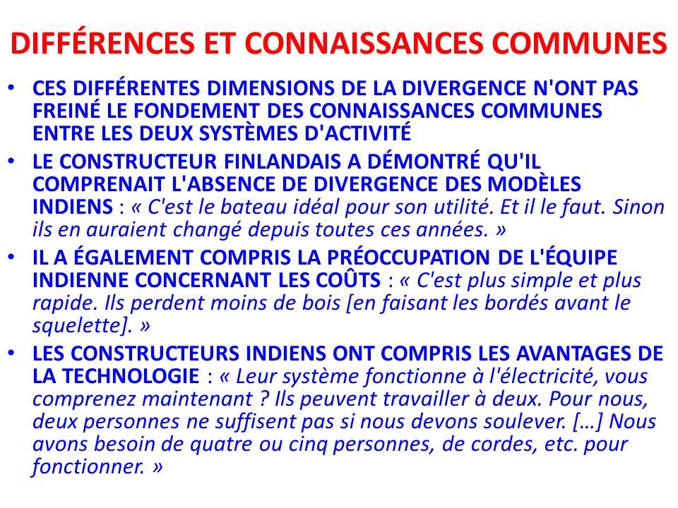 DIFFÉRENCES ET CONNAISSANCES COMMUNES