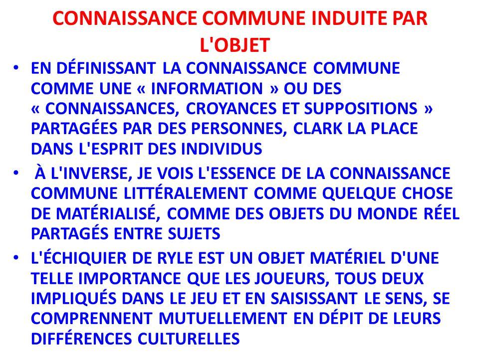 CONNAISSANCE COMMUNE INDUITE PAR L OBJET