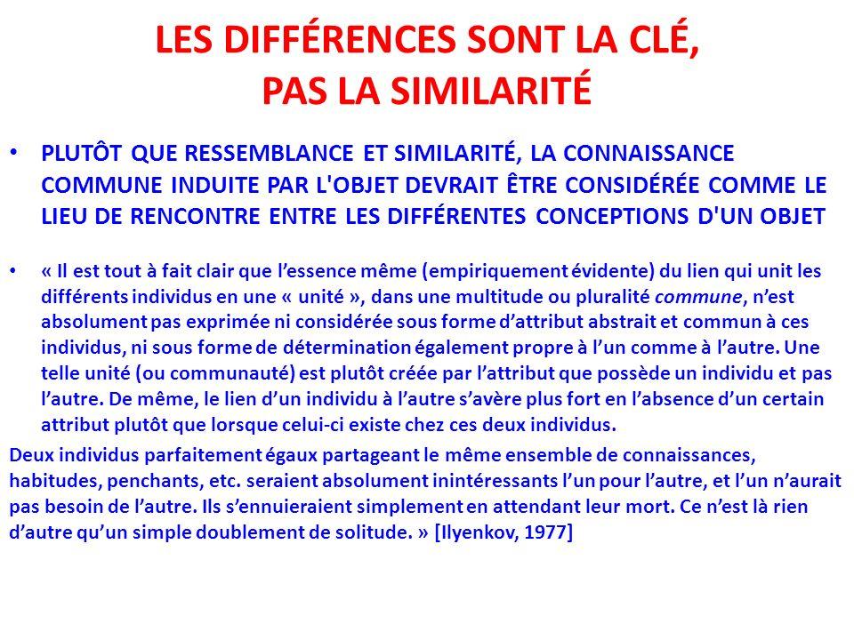 LES DIFFÉRENCES SONT LA CLÉ, PAS LA SIMILARITÉ