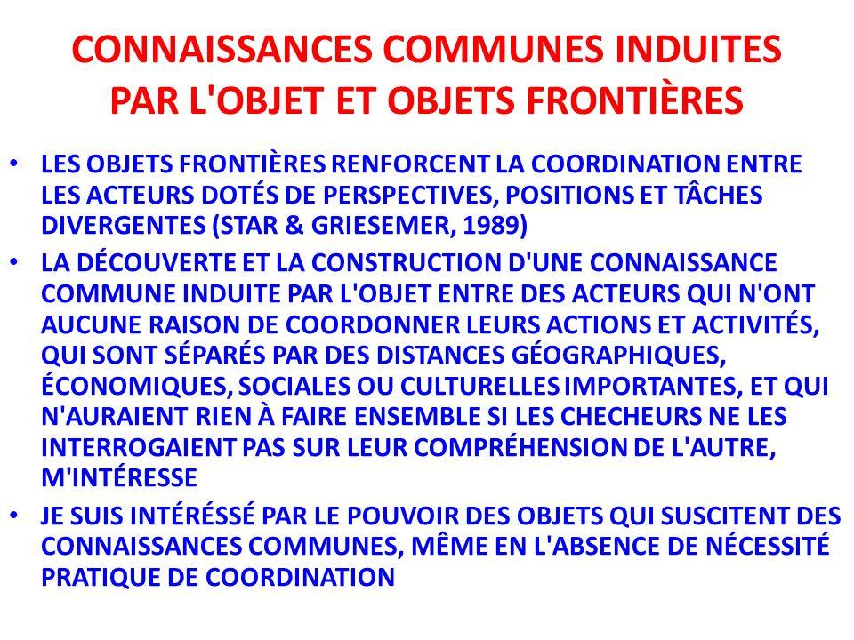 CONNAISSANCES COMMUNES INDUITES PAR L OBJET ET OBJETS FRONTIÈRES