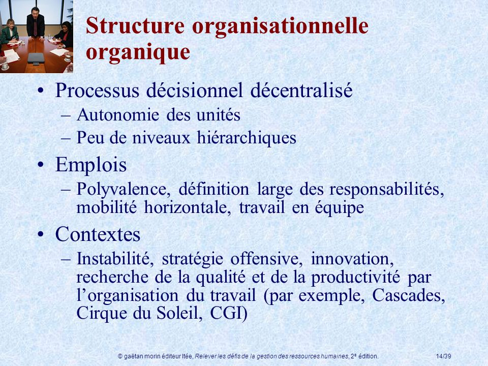 Structure organisationnelle organique