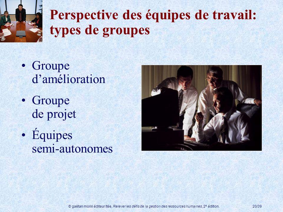 Perspective des équipes de travail: types de groupes
