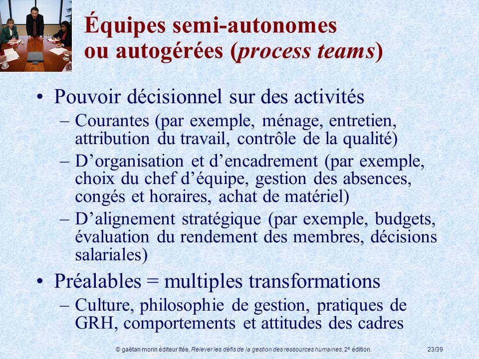 Équipes semi-autonomes ou autogérées (process teams)