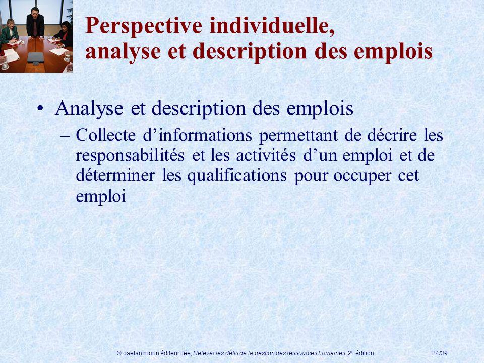Perspective individuelle, analyse et description des emplois