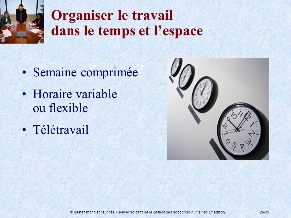 Organiser le travail dans le temps et l'espace