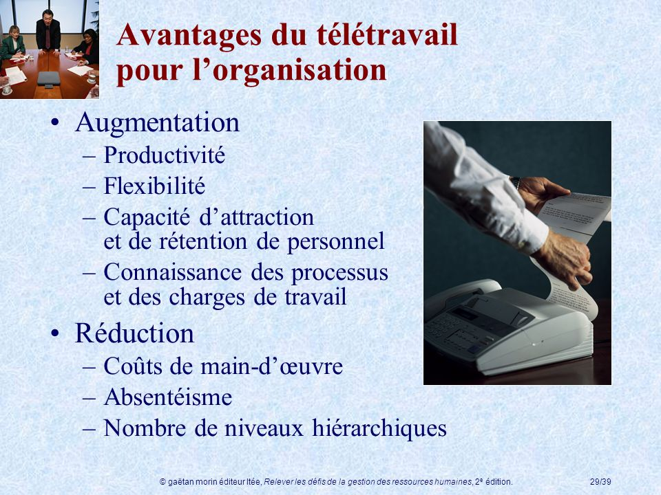 Avantages du télétravail pour l'organisation