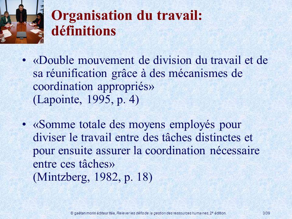Organisation du travail: définitions