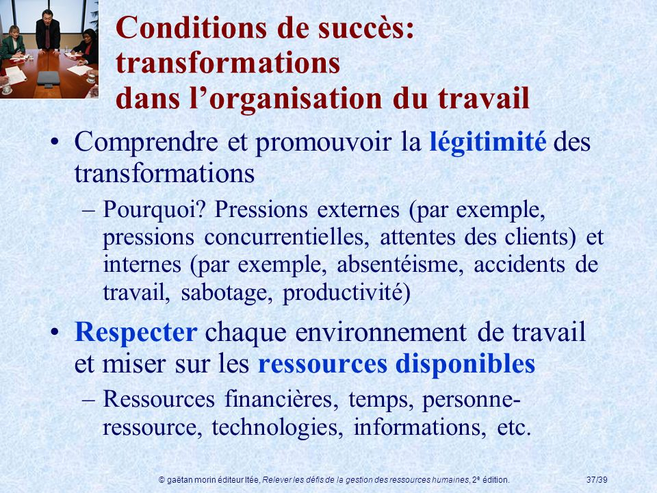 Conditions de succès: transformations dans l'organisation du travail
