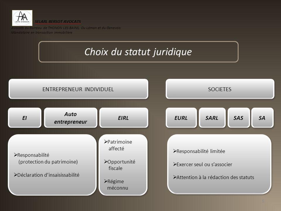 Choix du statut juridique