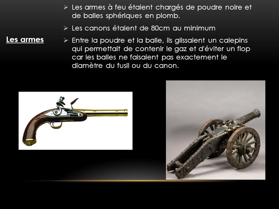 Les armes à feu étaient chargés de poudre noire et de balles sphériques en plomb.