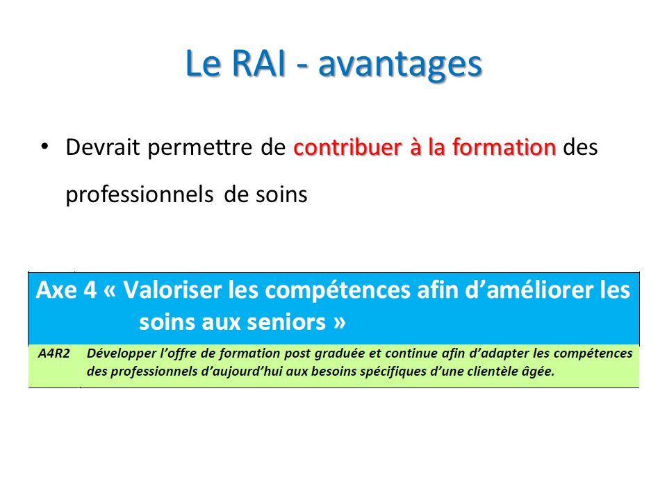 Le RAI - avantages Devrait permettre de contribuer à la formation des professionnels de soins