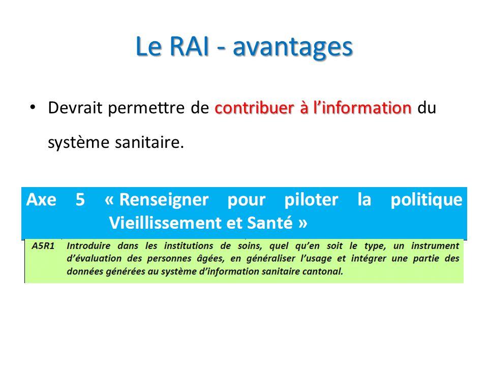 Le RAI - avantages Devrait permettre de contribuer à l'information du système sanitaire.