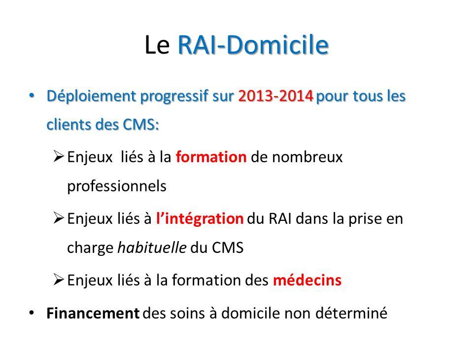 Le RAI-Domicile Déploiement progressif sur 2013-2014 pour tous les clients des CMS: Enjeux liés à la formation de nombreux professionnels.