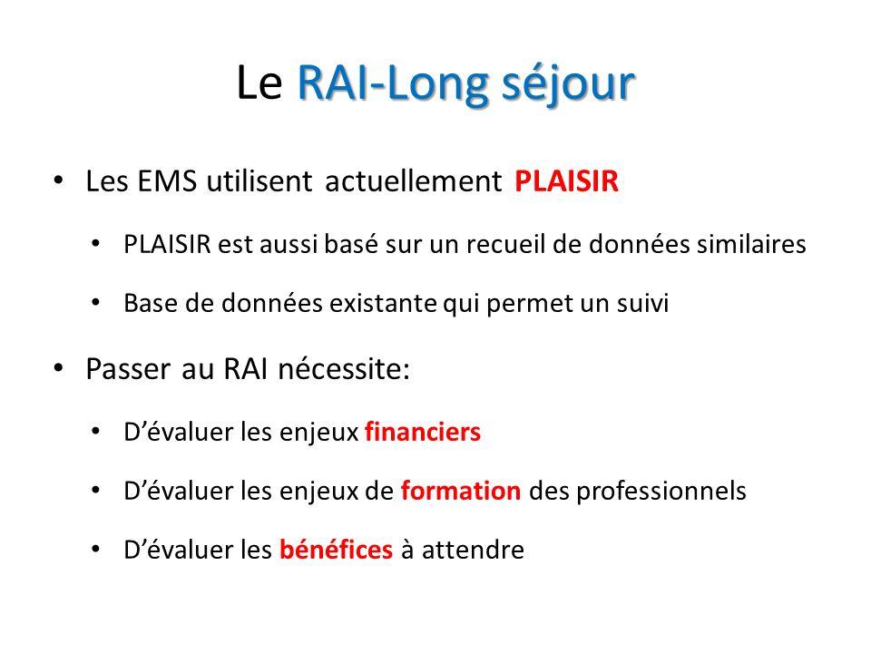 Le RAI-Long séjour Les EMS utilisent actuellement PLAISIR