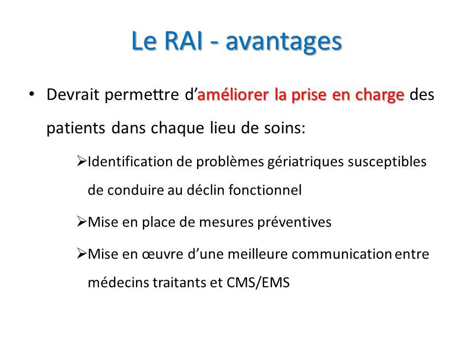 Le RAI - avantages Devrait permettre d'améliorer la prise en charge des patients dans chaque lieu de soins: