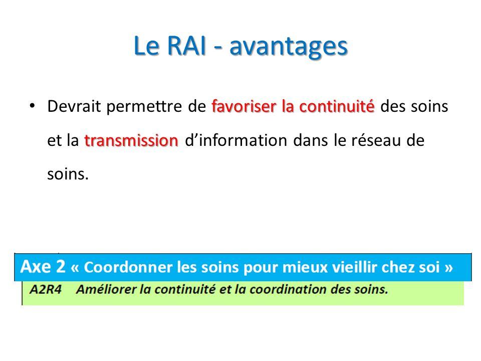 Le RAI - avantages Devrait permettre de favoriser la continuité des soins et la transmission d'information dans le réseau de soins.