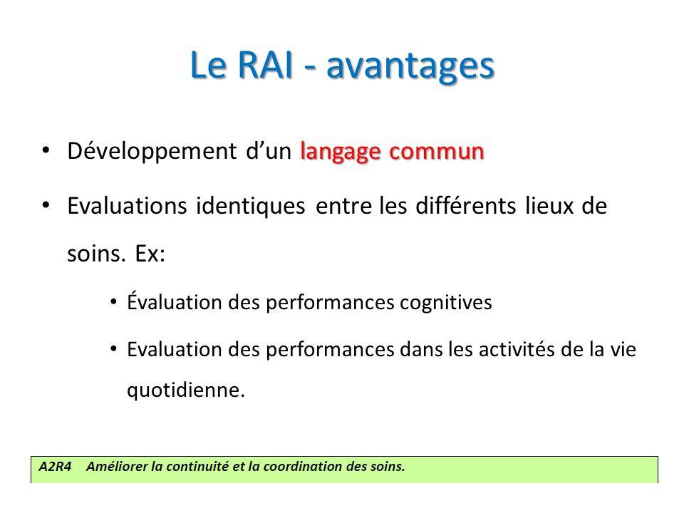 Le RAI - avantages Développement d'un langage commun