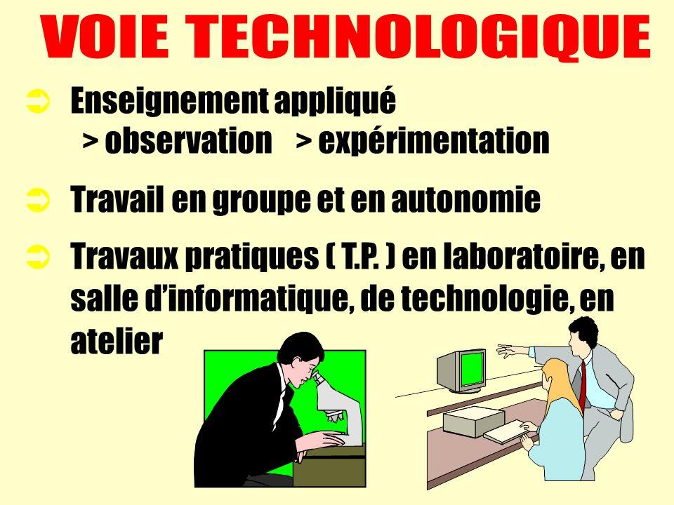 VOIE TECHNOLOGIQUE Enseignement appliqué. > observation > expérimentation. Travail en groupe et en autonomie.