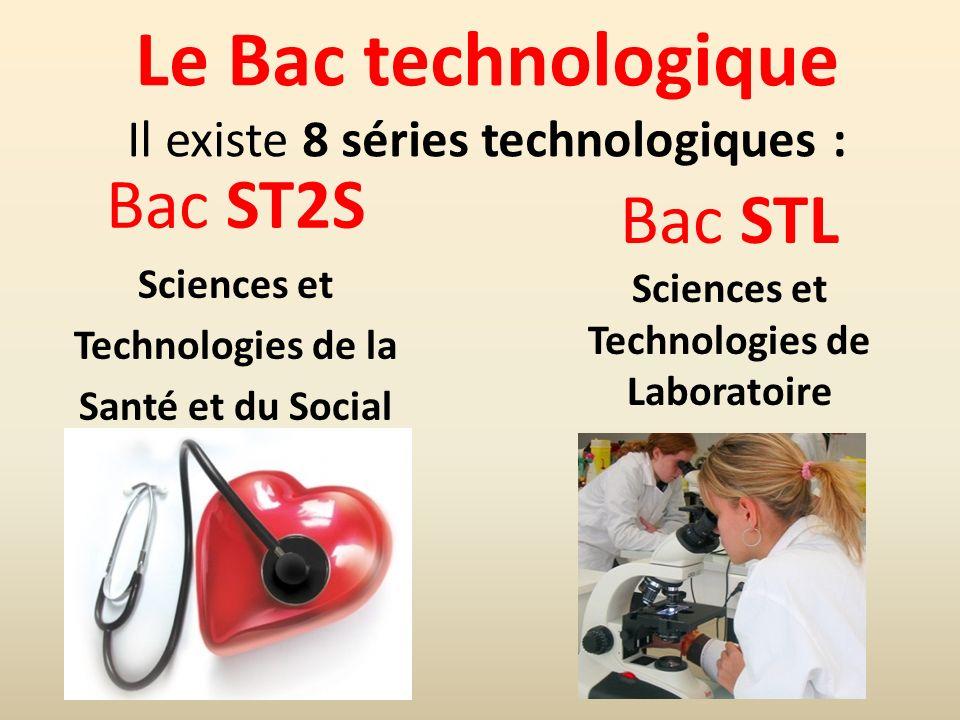 Le Bac technologique Il existe 8 séries technologiques :