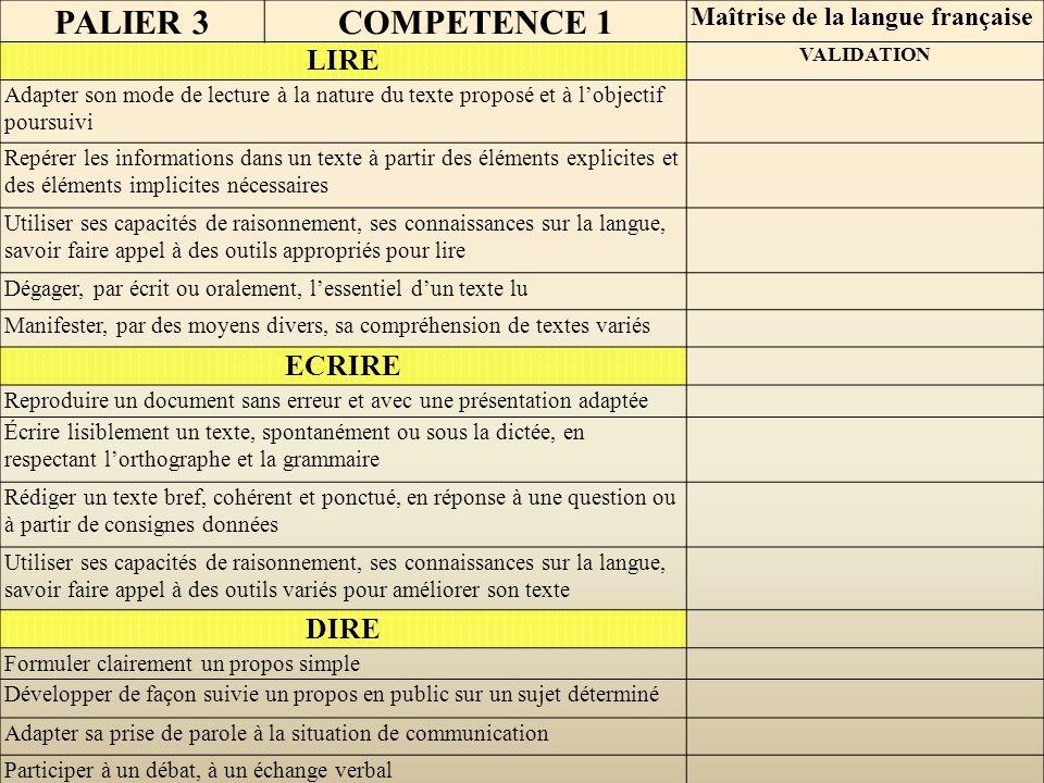 PALIER 3 COMPETENCE 1 LIRE ECRIRE DIRE Maîtrise de la langue française