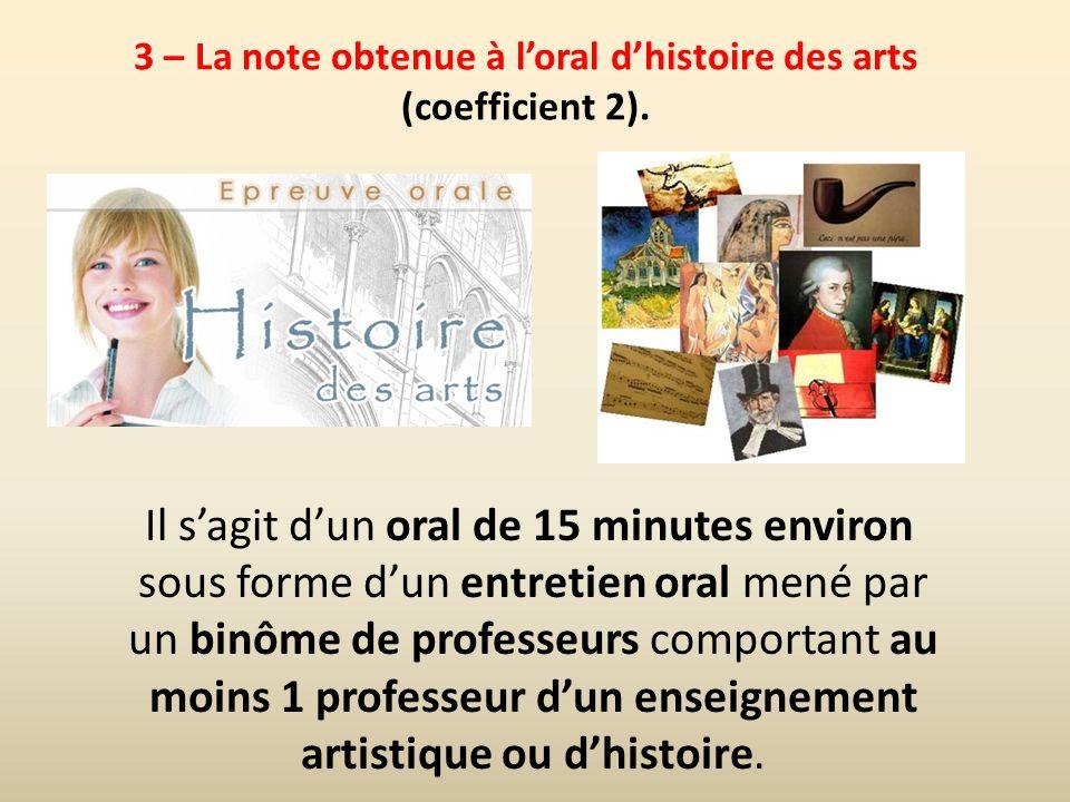 3 – La note obtenue à l'oral d'histoire des arts (coefficient 2).