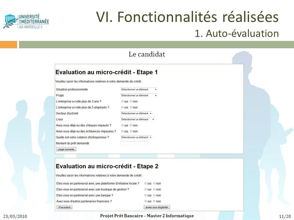 VI. Fonctionnalités réalisées 1. Auto-évaluation