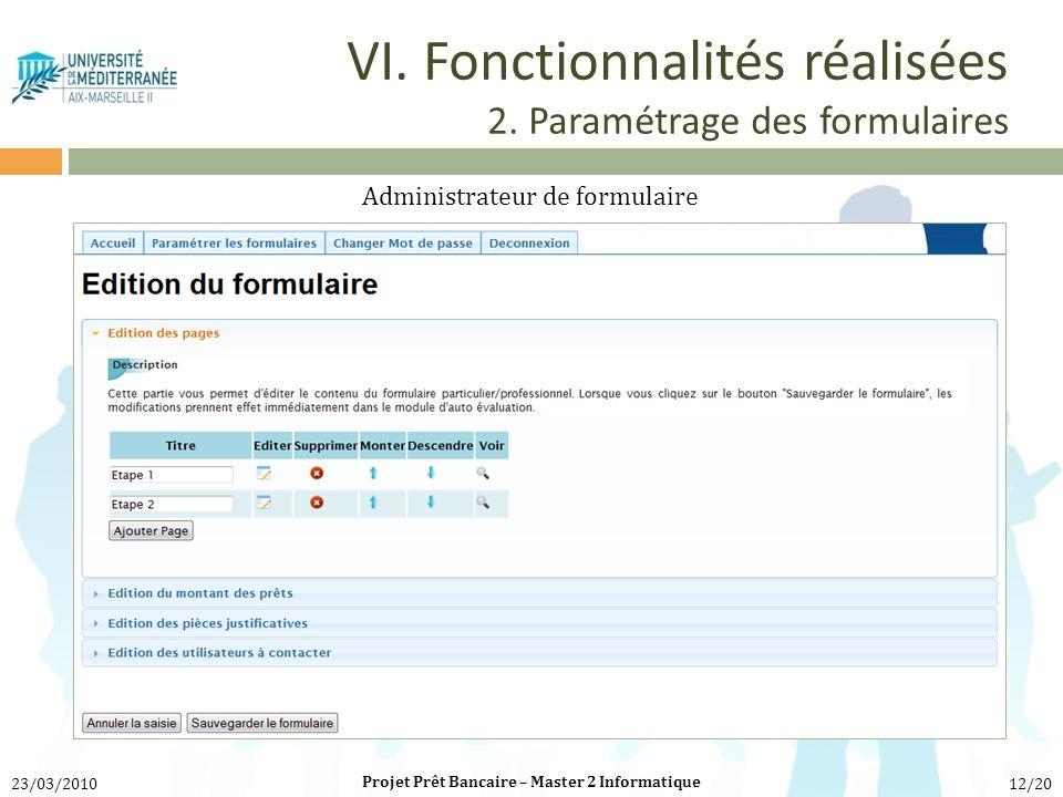 VI. Fonctionnalités réalisées 2. Paramétrage des formulaires