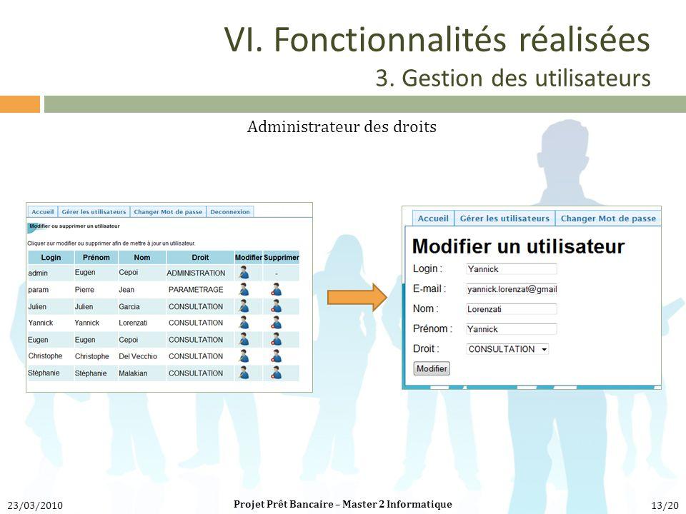VI. Fonctionnalités réalisées 3. Gestion des utilisateurs