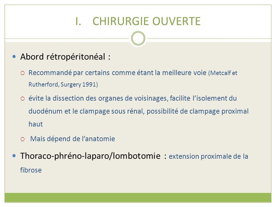 CHIRURGIE OUVERTE Abord rétropéritonéal :