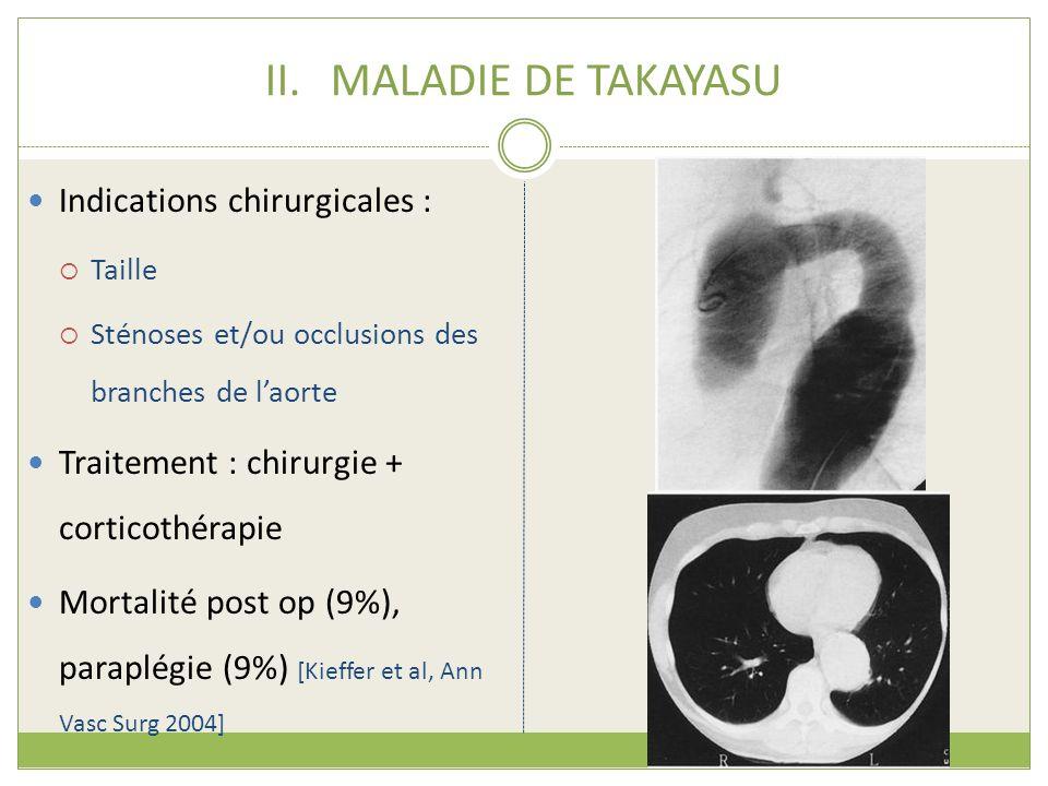 MALADIE DE TAKAYASU Indications chirurgicales :