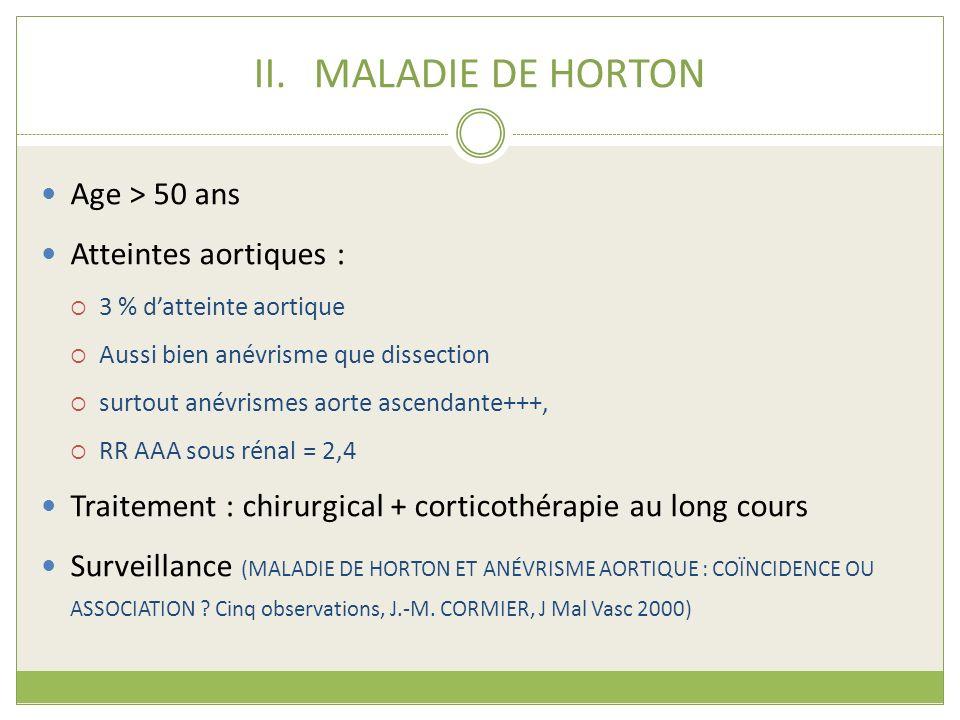 MALADIE DE HORTON Age > 50 ans Atteintes aortiques :