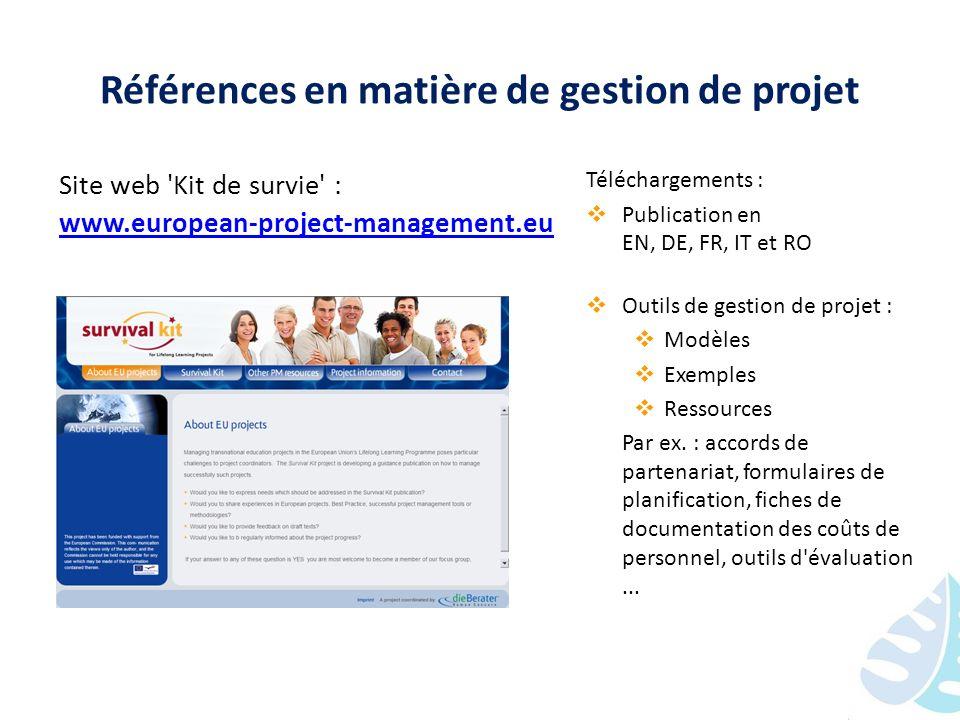 Références en matière de gestion de projet
