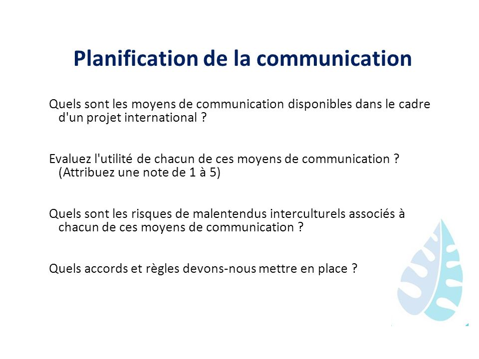 Planification de la communication