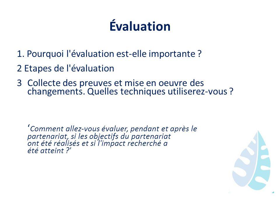 Évaluation 1. Pourquoi l évaluation est-elle importante