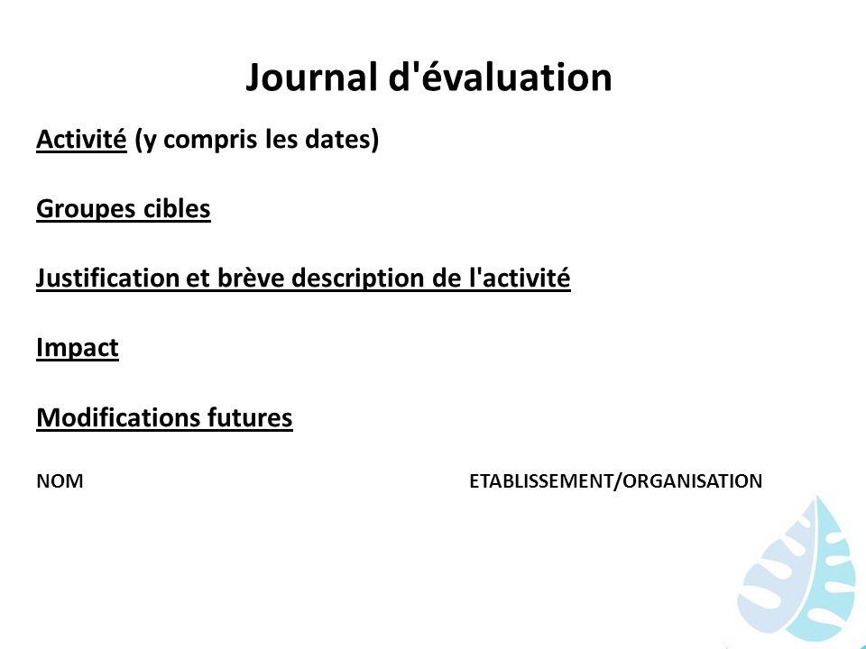 Journal d évaluation Activité (y compris les dates) Groupes cibles