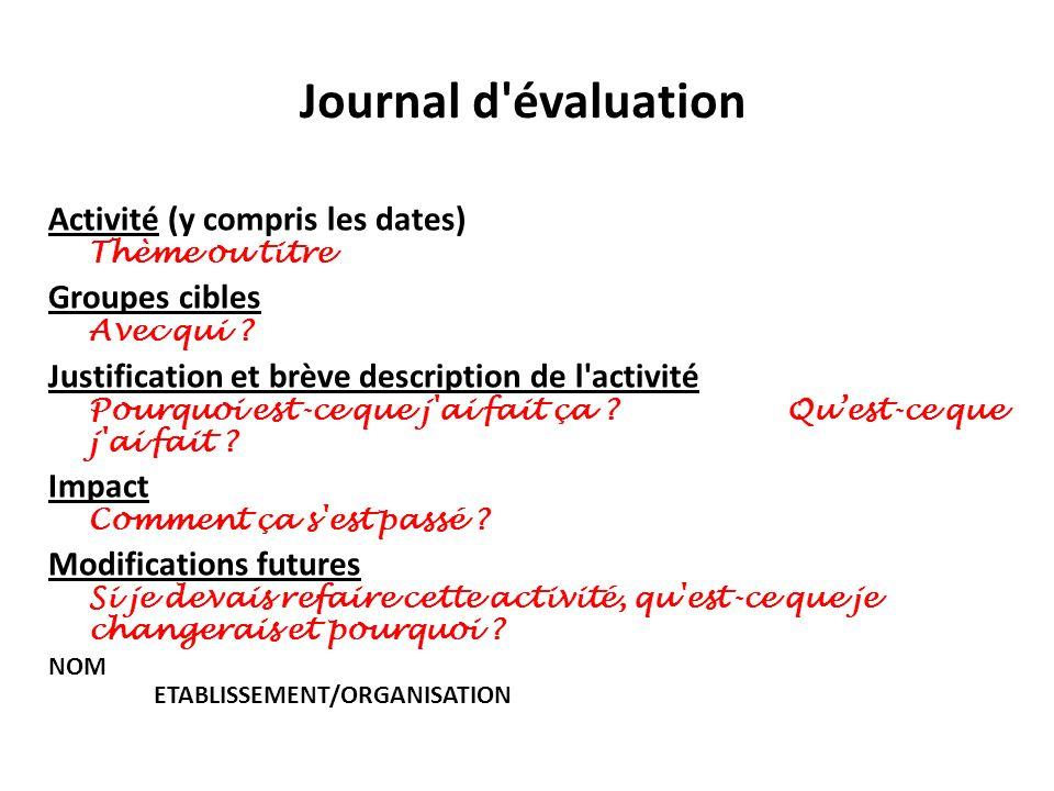 Journal d évaluation Activité (y compris les dates) Thème ou titre
