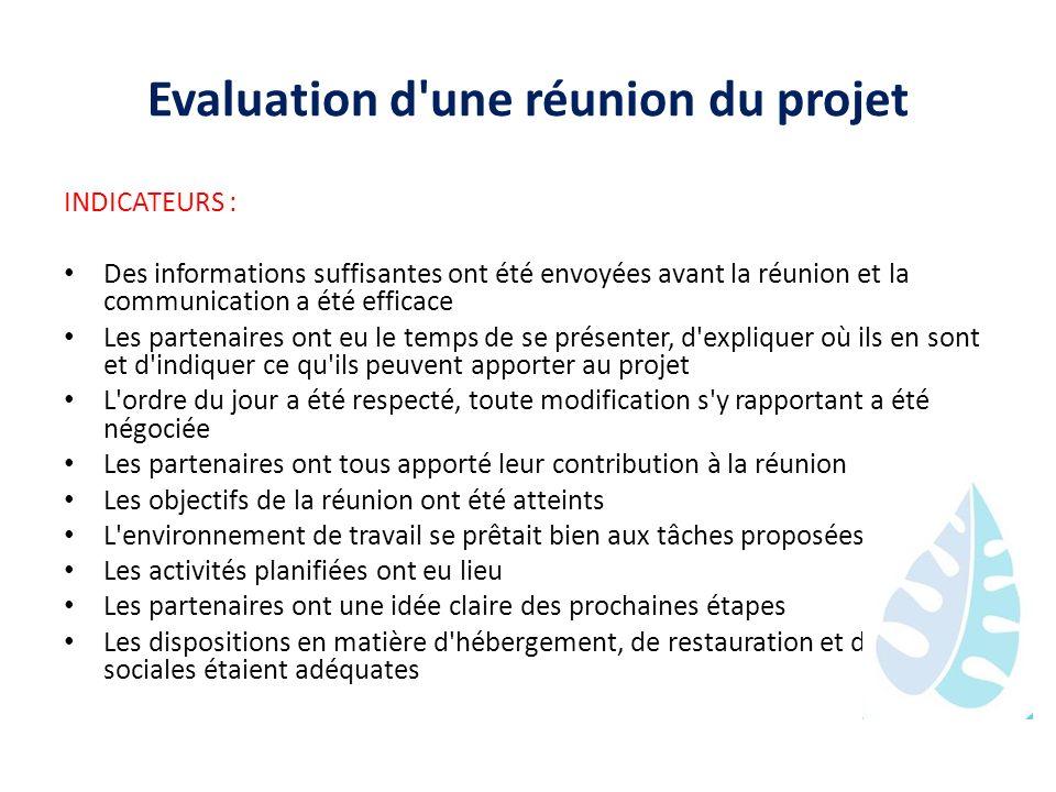 Evaluation d une réunion du projet