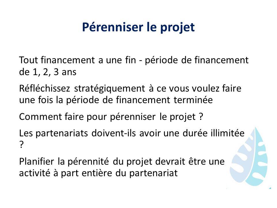 Pérenniser le projet Tout financement a une fin - période de financement de 1, 2, 3 ans.